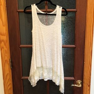 Cream Lacey tunic top.